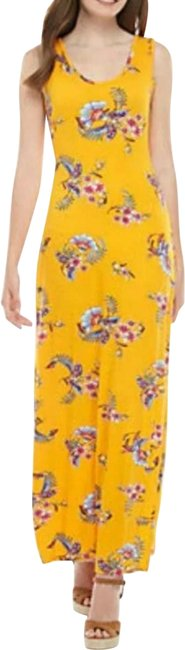 Item - Yellow Gold Floral Long Casual Maxi Dress Size 4 (S)