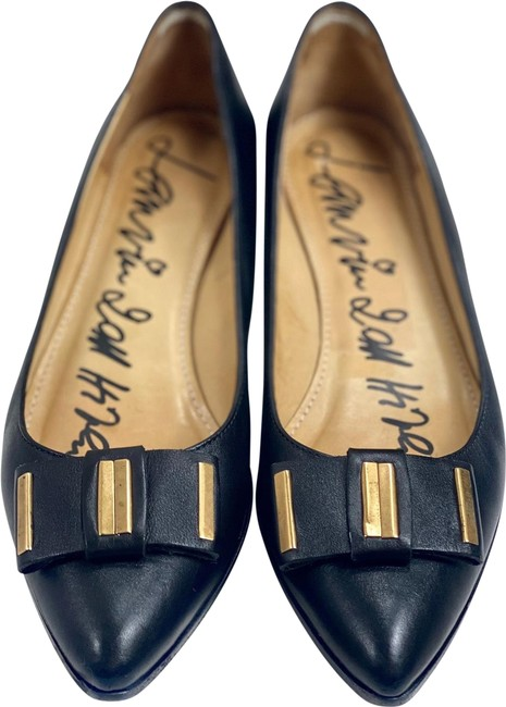 Item - Black Leather Pointed Toe Bow Flats Size US 8 Regular (M, B)