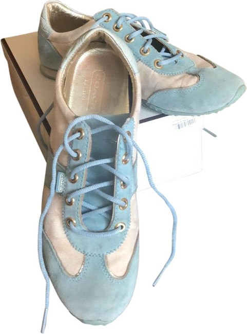Item - Baby Blue and Cream with Gold Leather Lining Summer Sneakers Size US 8.5 Regular (M, B)