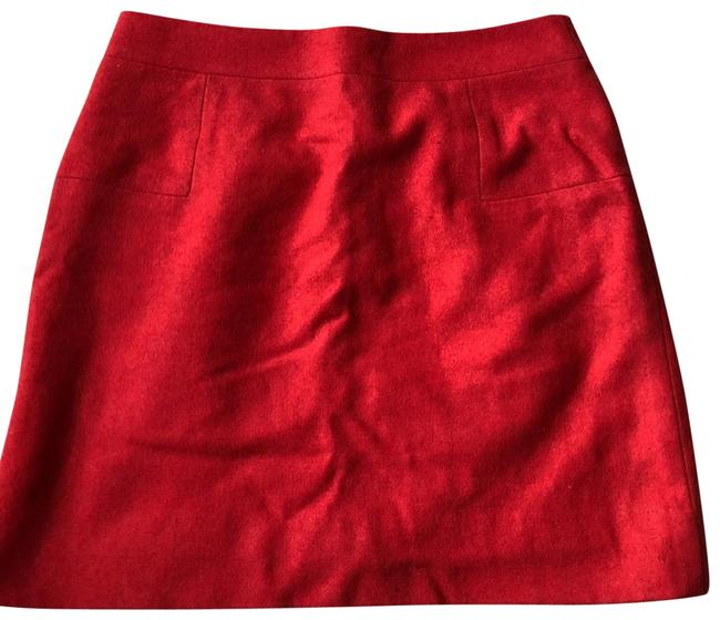 Item - Red Double Serge Wool Skirt Size 4 (S, 27)