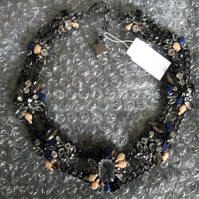 Item - Black Cream and Blue Midnight Flowers Necklace