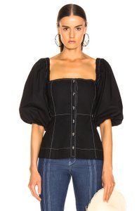 Ganni Puff Sleeve Square Neckline Topstitched Fitted Top Sold-Out