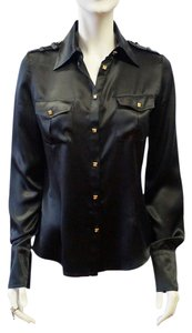 Roberto Cavalli Silk Collared Gold Stud Buttons Shirt 6 4 S Top Black