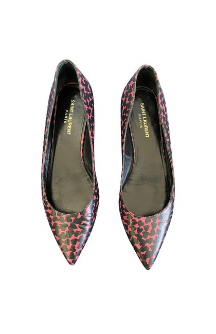 Item - Multicolor Heart Printed Leather Pointy Flats Size EU 38.5 (Approx. US 8.5) Regular (M, B)