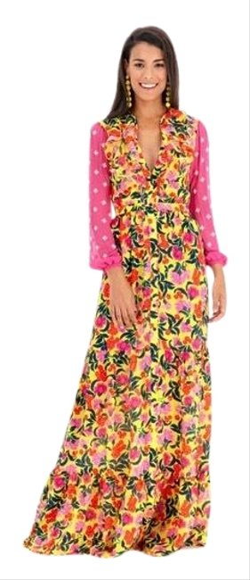 Item - Pink Yellow Floral Long Casual Maxi Dress Size 2 (XS)