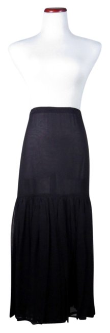 Beth Schaeffer Vintage 100% Silk Silk Maxi Double Tiered Skirt Black
