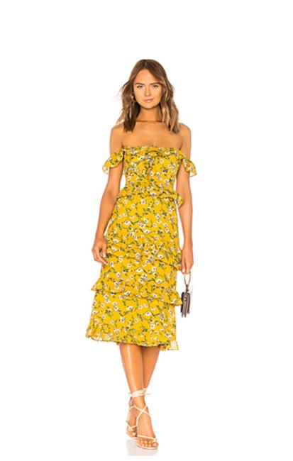 Item - Yellow Dolly Floral Lily In Mid-length Cocktail Dress Size 00 (XXS)