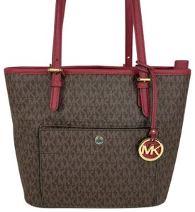 Michael Kors Tote in Signature Brown and Mulberry