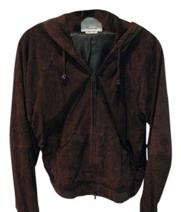 Faconnable for Women Dark Brown Suede Leather Jacket