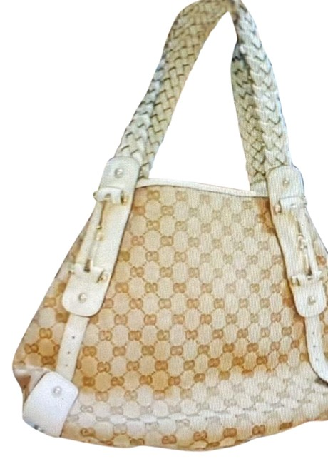 Item - White and Brown Canvas Leather Hobo Bag