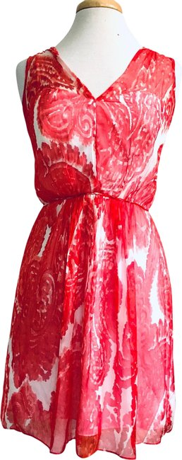 Item - Red & White Silk Floral Short Cocktail Dress Size 6 (S)