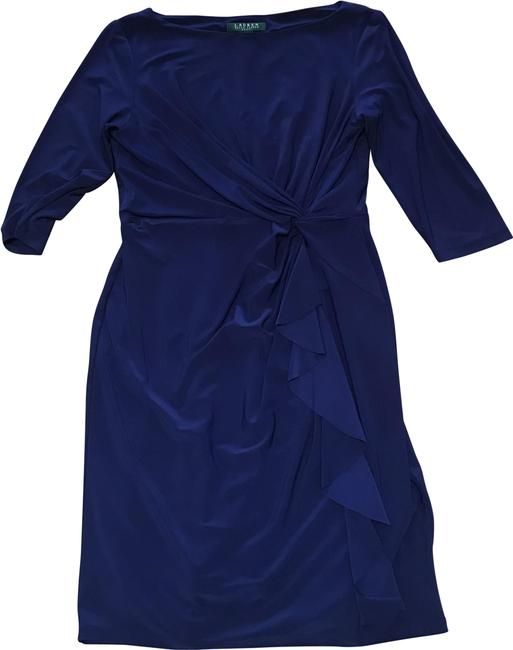 Item - Blue 10p Navy Polyester Formal Sheath Stretch Mid-length Cocktail Dress Size Petite 10 (M)