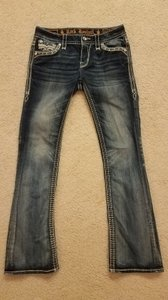Rock Revival Sparkle Skinny Stretchy Rocker Embroidered Boot Cut Jeans