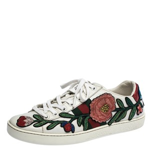Gucci Floral Embroidered Leather White Athletic