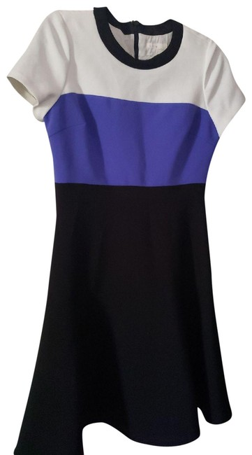 Item - Blue Black White Fit and Flare Out Mid-length Short Casual Dress Size 8 (M)