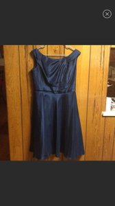 David's Bridal Navy Polyester Capsleeve Fit/Flare Modest Bridesmaid/Mob Dress Size 12 (L)