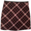 Express Red Black White Plaid with Faux Leather Trim Skirt Size 00 (XXS, 24) Express Red Black White Plaid with Faux Leather Trim Skirt Size 00 (XXS, 24) Image 1