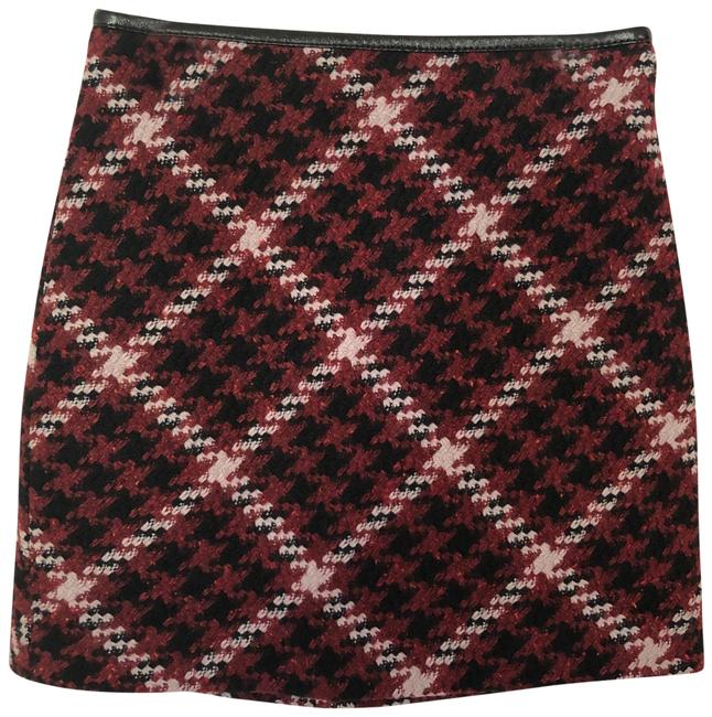 Item - Red Black White Plaid with Faux Leather Trim Skirt Size 00 (XXS, 24)