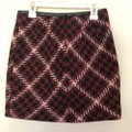 Express Red Black White Plaid with Faux Leather Trim Skirt Size 00 (XXS, 24) Express Red Black White Plaid with Faux Leather Trim Skirt Size 00 (XXS, 24) Image 2