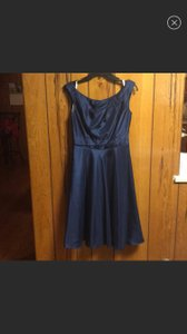 David's Bridal Navy Polyester Capsleeve Fit/Flare Tea Length Modest Bridesmaid/Mob Dress Size 6 (S)