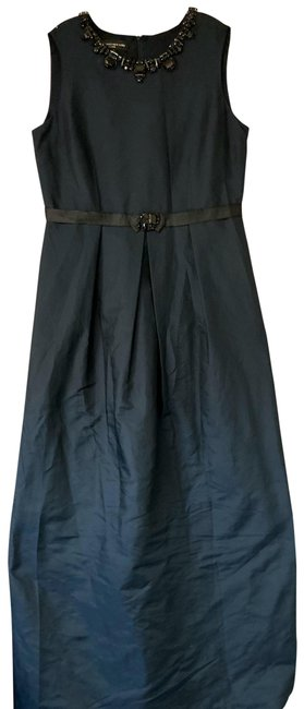 Item - Navy Collection Embellished Poly Long Cocktail Dress Size 14 (L)
