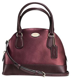 Coach F36054 F36054 Cora Domed Crossgrain Leather Satchel in Purple
