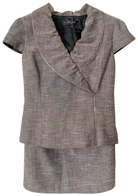 Item - Grey-brown With Zipper Detail Skirt Suit Size 6 (S)