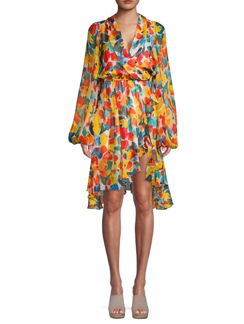 Item - Olivia Printed Silk Wrap Style Mid-length Cocktail Dress Size 2 (XS)
