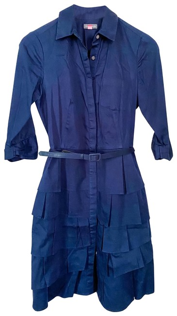 Item - Navy Button-up with Ruffled Skirt Short Casual Dress Size 4 (S)