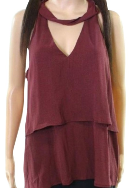 Item - Red Two Layer V-neck Tank Halter Top Size 4 (S)