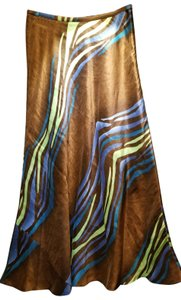 Valerie Stevens Long Silk And Linen Aline Wave Pattern Maxi Skirt Cocoa Lime Turquoise