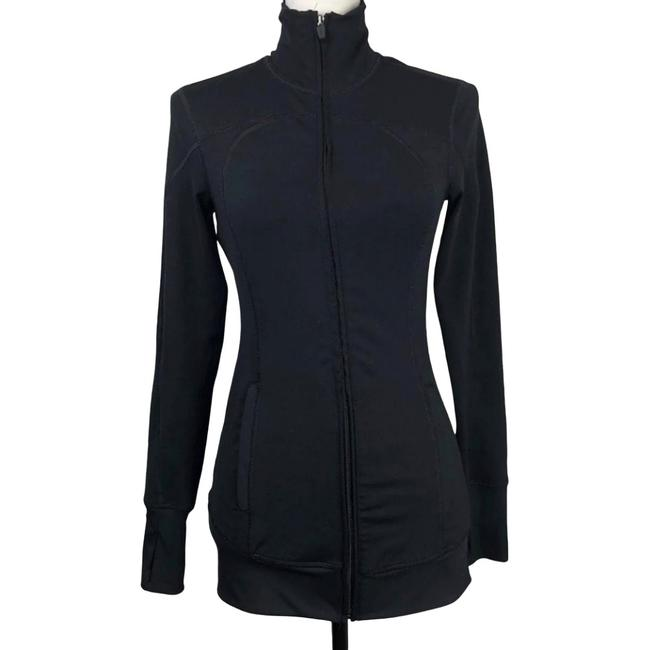 Item - Black Fitted Full-zip Activewear Outerwear Size 2 (XS)