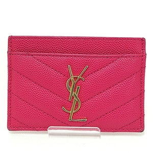 Saint Laurent Saint Laurent SAINT LAURENT Card Case Monogram Pink Gold Calf 358089 YSL Quilted Business Holder