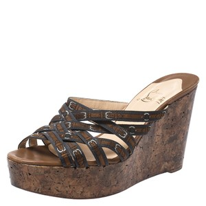 Christian Louboutin Wedge Platform Strappy Brown Sandals
