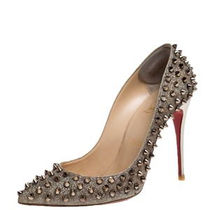 Christian Louboutin Glittered Leather Spike Pointed Toe Gold Pumps