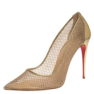 Christian Louboutin Mesh Leather Pointed Toe Gold Pumps