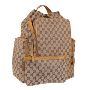Gucci Canvas Leather Backpack Brown Diaper Bag