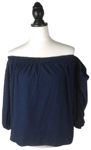 CeCe by Cynthia Steffe Off Shoulder Textured. Top NAVY BLUE
