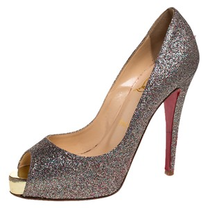 Christian Louboutin Glitter Very Prive Peep Toe Multicolor Pumps