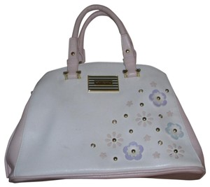 Betsy Faux Leather Tote in White,Pink