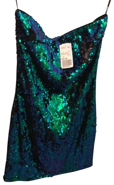 Item - Multi Blue Green Black Sequin Short Night Out Dress Size 6 (S)