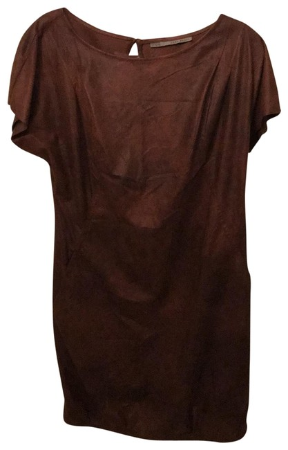 Item - Tobacco Brown Leather Mid-length Short Casual Dress Size 8 (M)