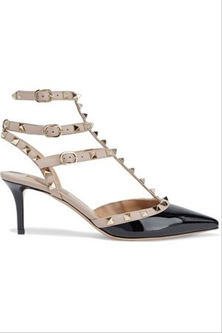 Valentino Black Poudre Patent Leather Rockstud Caged Sandals Pumps Size EU 38 (Approx. US 8) Regular (M, B) Valentino Black Poudre Patent Leather Rockstud Caged Sandals Pumps Size EU 38 (Approx. US 8) Regular (M, B) Image 1