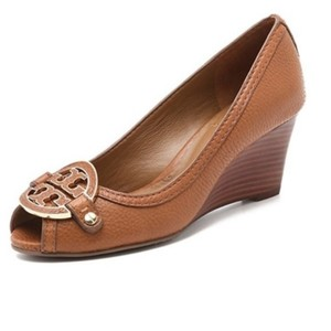 Tory Burch Pumps Open Toe Leather Brown Tan Wedges