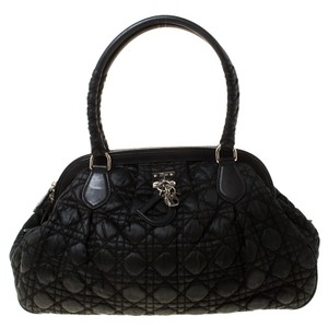 Dior Charming Quilted Satin Satchel in Black