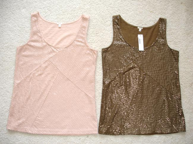 Item - Pink/Brown Sequin Front Tank Top/Cami Size 00 (XXS)