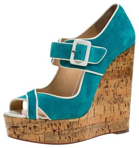 Christian Louboutin Suede Wedge Blue Sandals