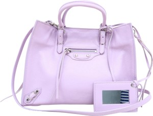 Balenciaga Calfskin Leather Mini Satchel in Lavender