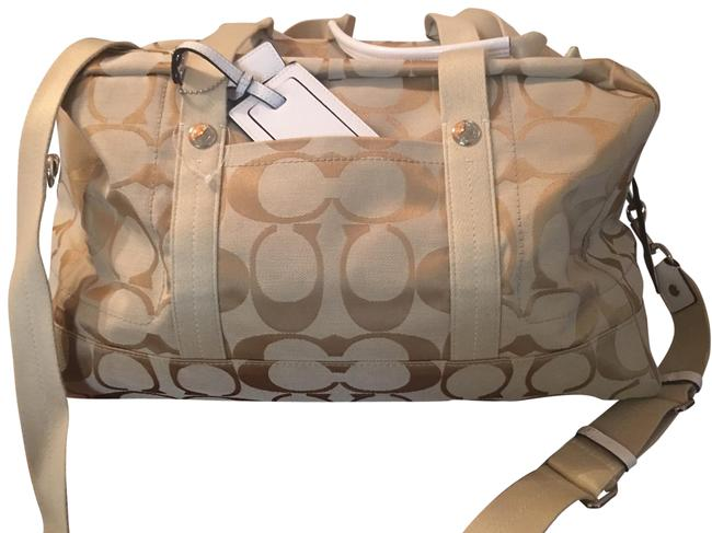 Item - Duffle Beige with White Canvas Weekend/Travel Bag