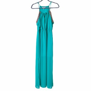 Mint Green Maxi Dress by Charming Charlie Maxi Embroidered Boho Halter Sleeveless